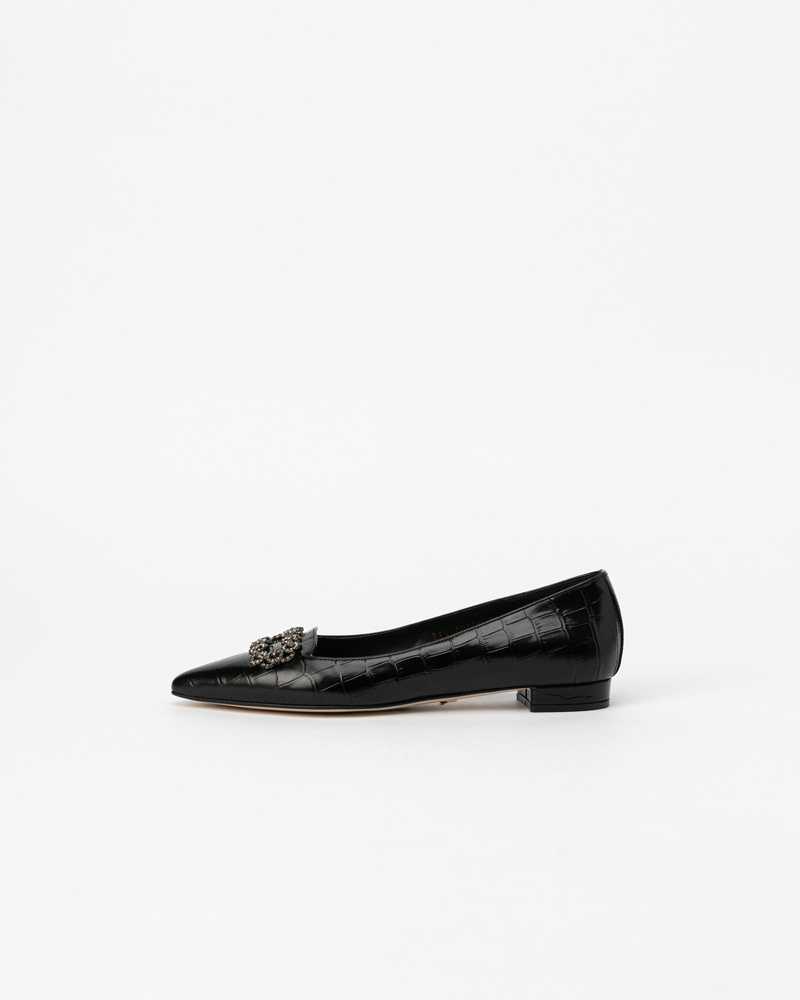 Veronica Flat Shoes in Black Croco Print