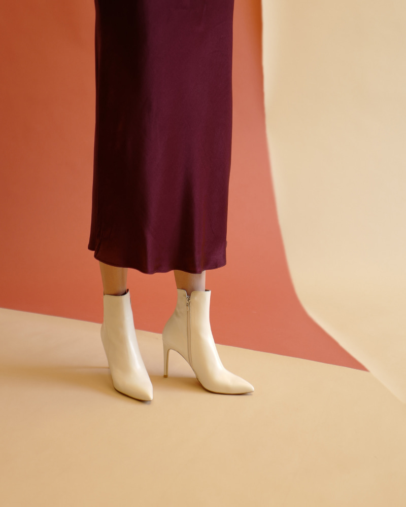 Pheonix Boots in Ivory Lamb