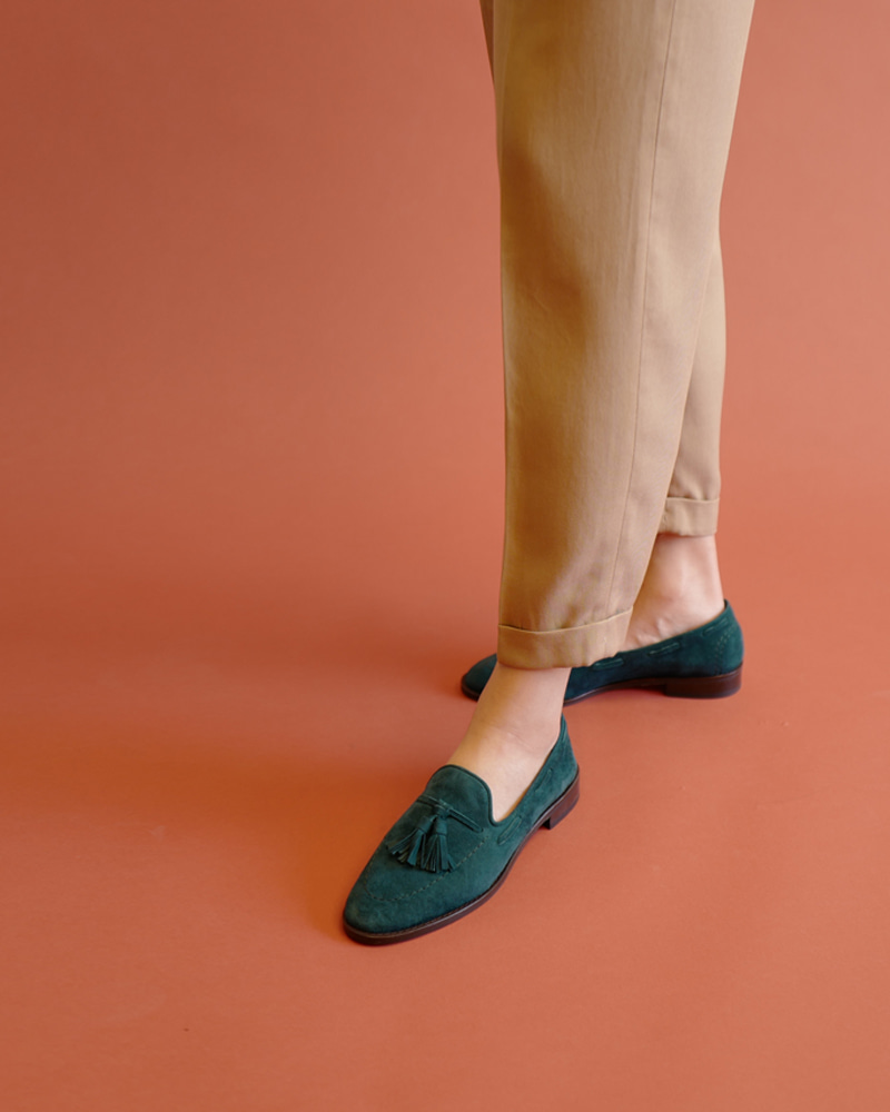 Veron Loafers in Green Suede