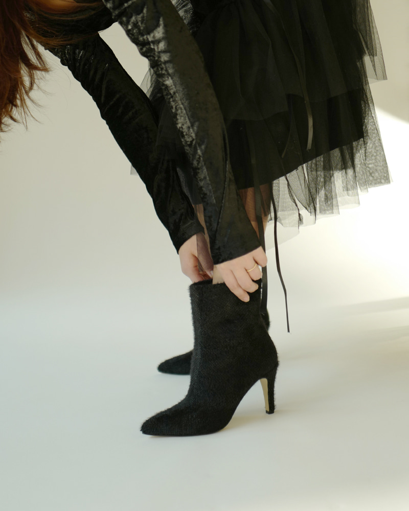 Françoise Angora Knit Boots in Black