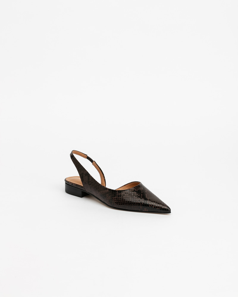 Trulo Flat Slingbacks in Brown Python Print