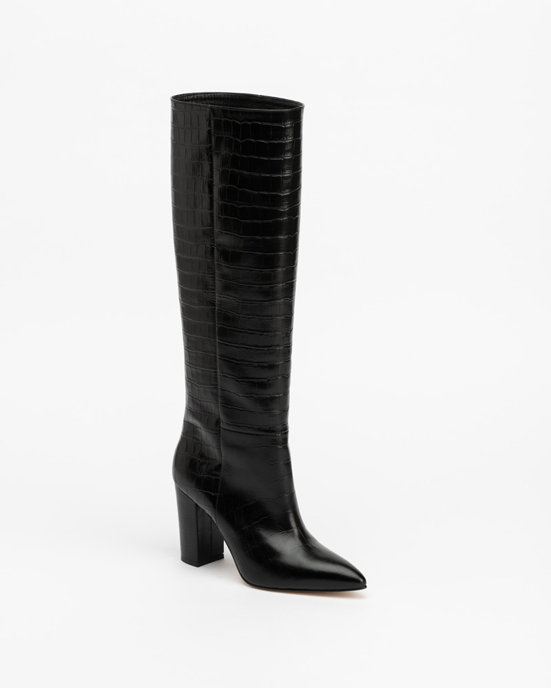 Giverny Boots in Black Croco Print