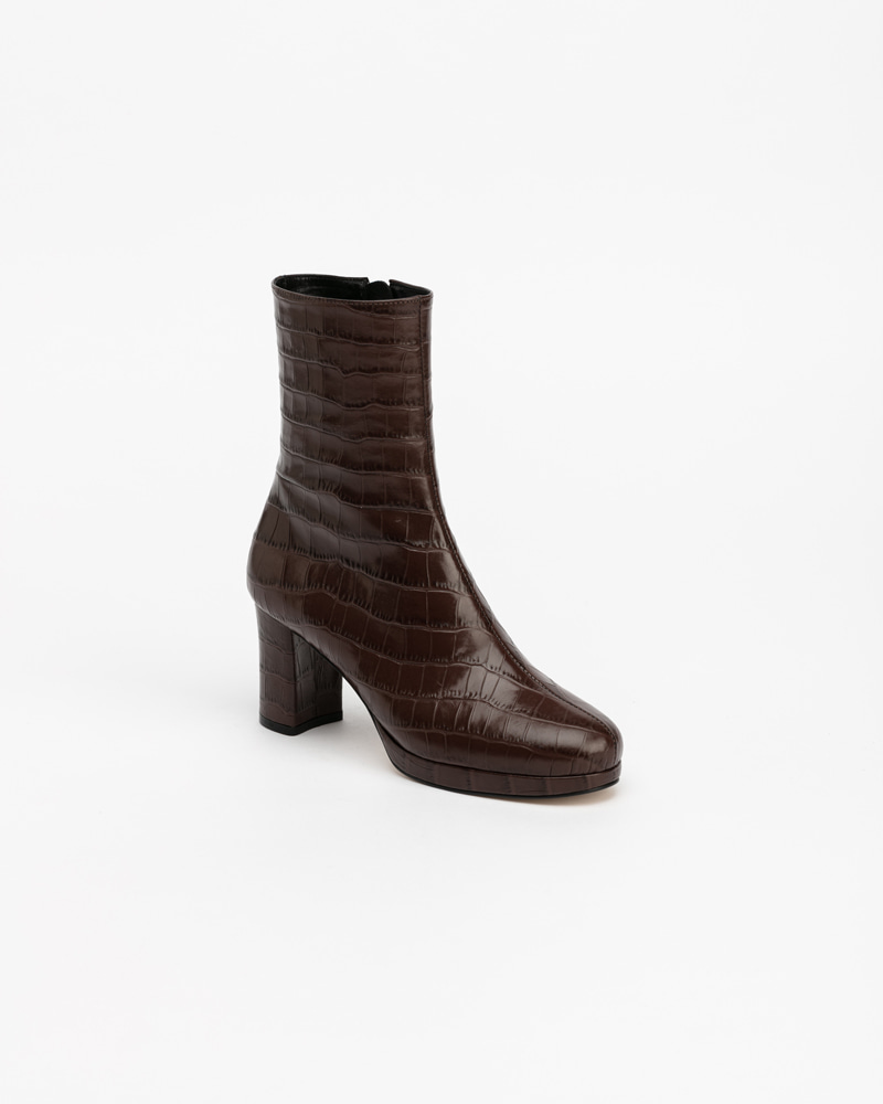 Slime Platform Boots in Brown Croco Print