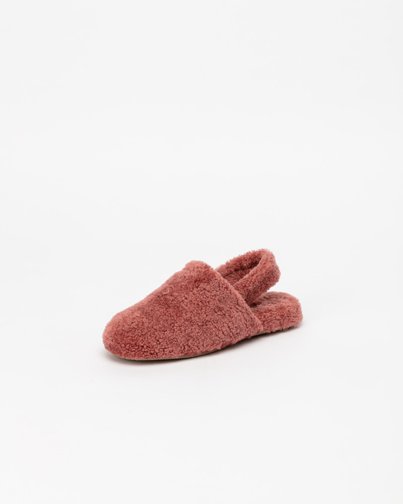 Ruphy Shearling Slides in Pink with Straps