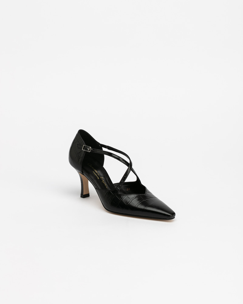 Ananti Strap Pumps in Black Croco Print