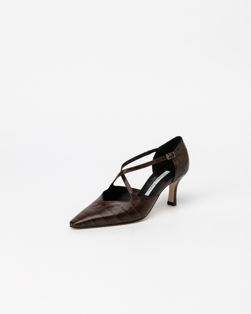Ananti Strap Pumps in Brown Croco Print