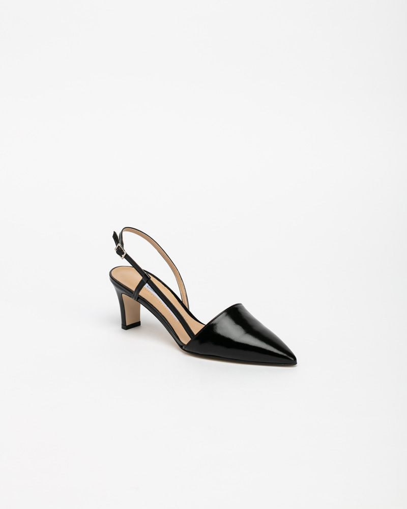 Corona Slingbacks in Black Cracked Leather