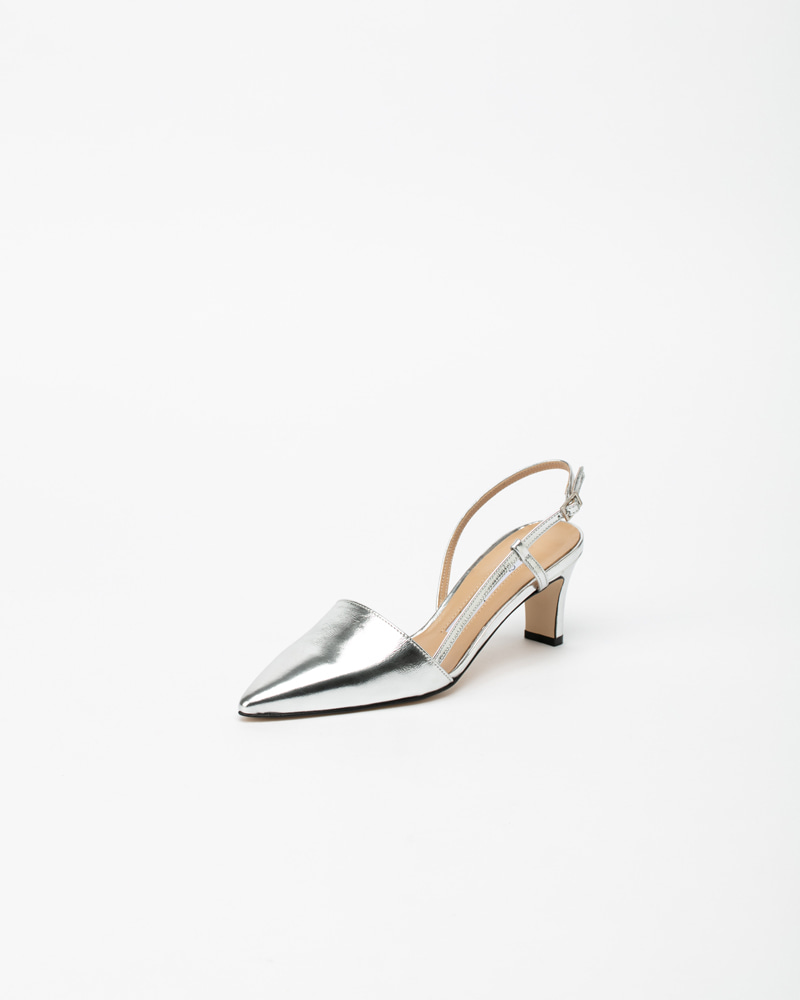 Corona Slingbacks in Silver Leather