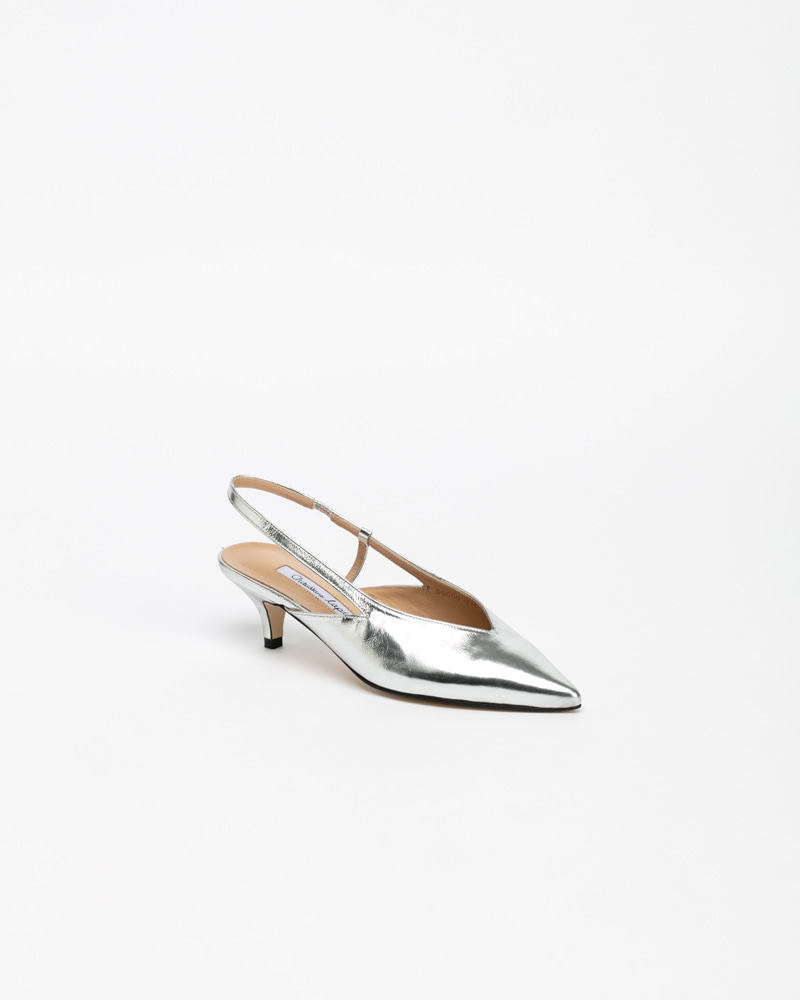 Felar Slingbacks in Silver Leather