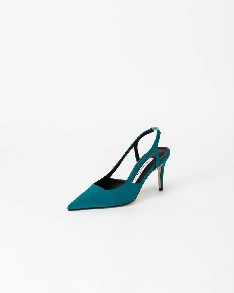 Roxanne Slingbacks in Green Silk