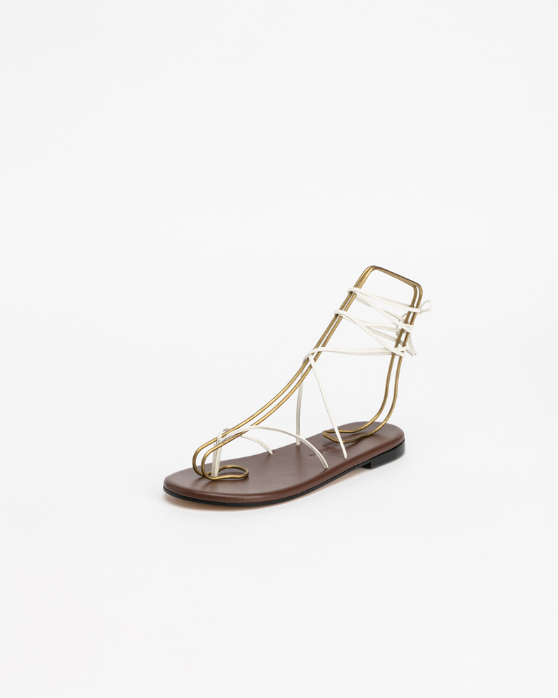 Mimosa Gladiator Sandals in Ivory & Brown