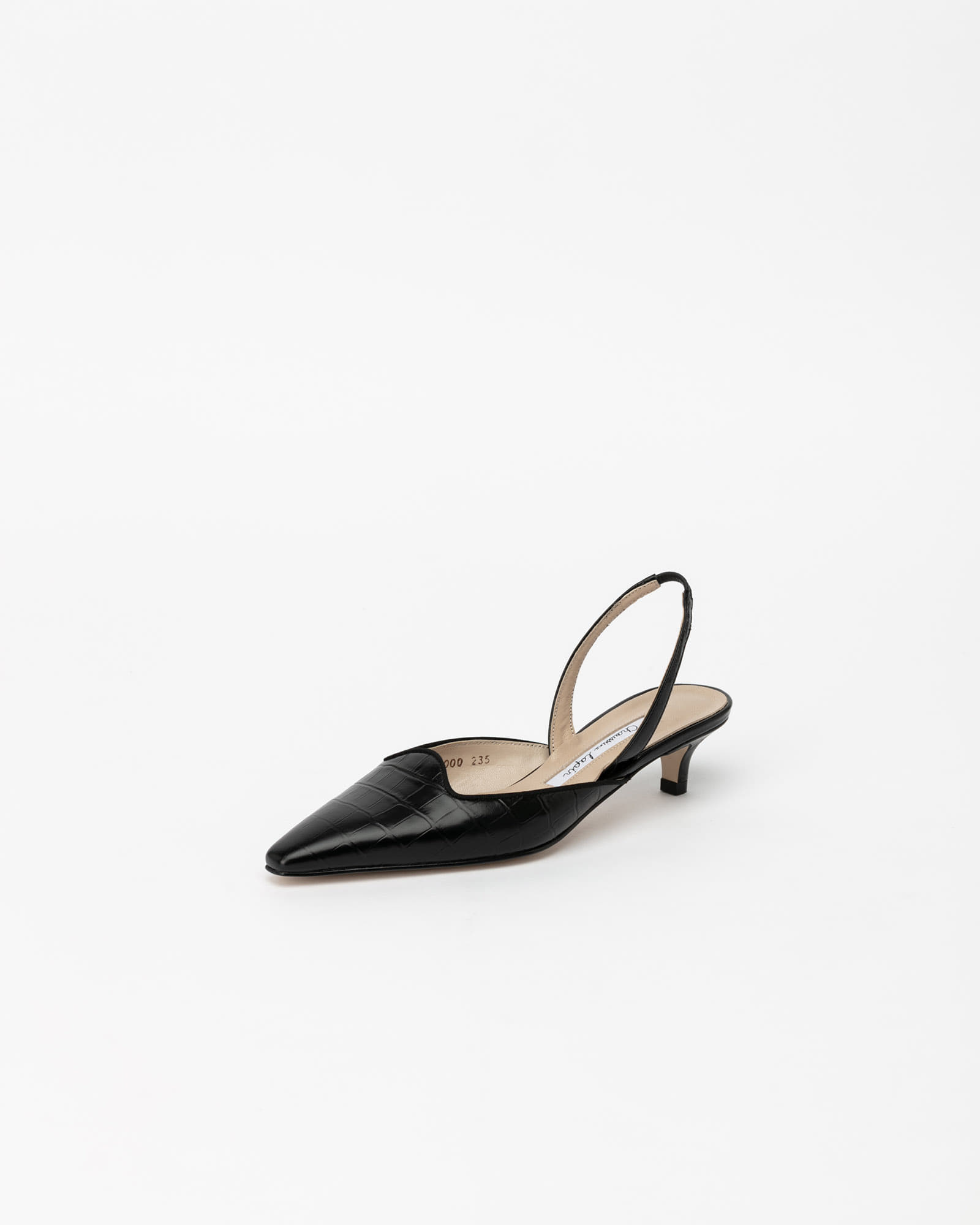 Tanoa Slingbacks in Black Croco Prints