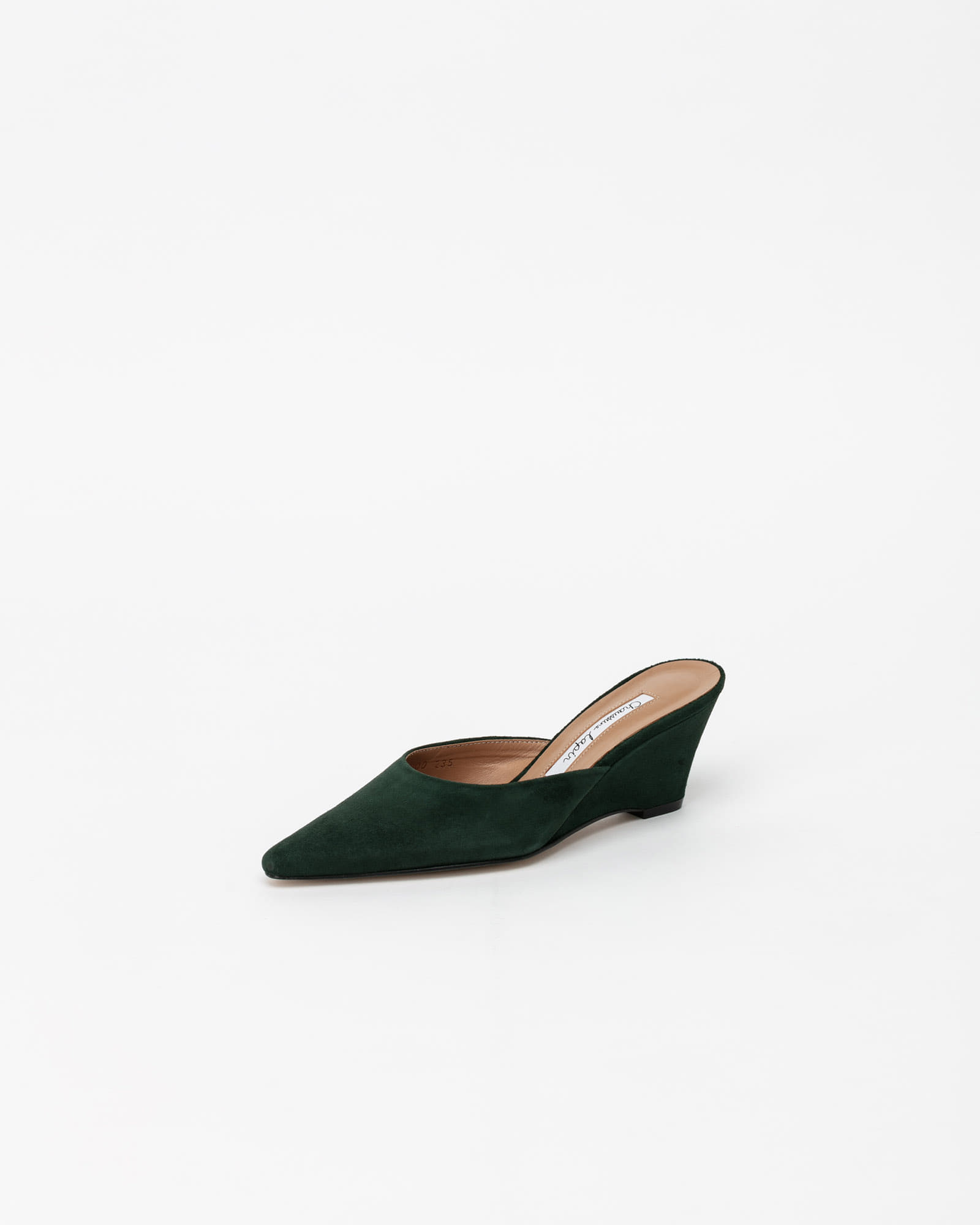 Mune Wedge Mules in Emerald Green Suede