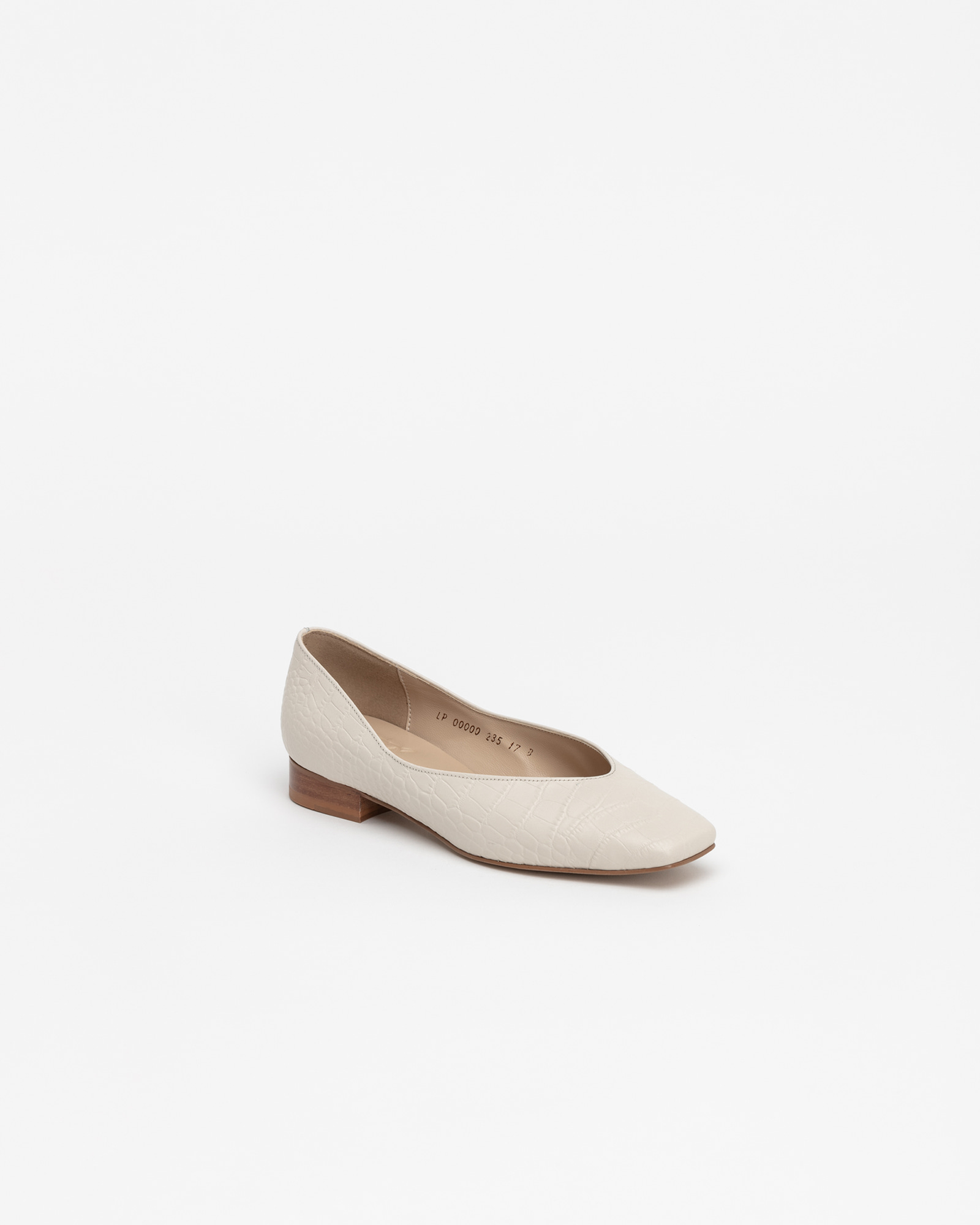 Purin Flat Shoes in Ivory Croco Prints