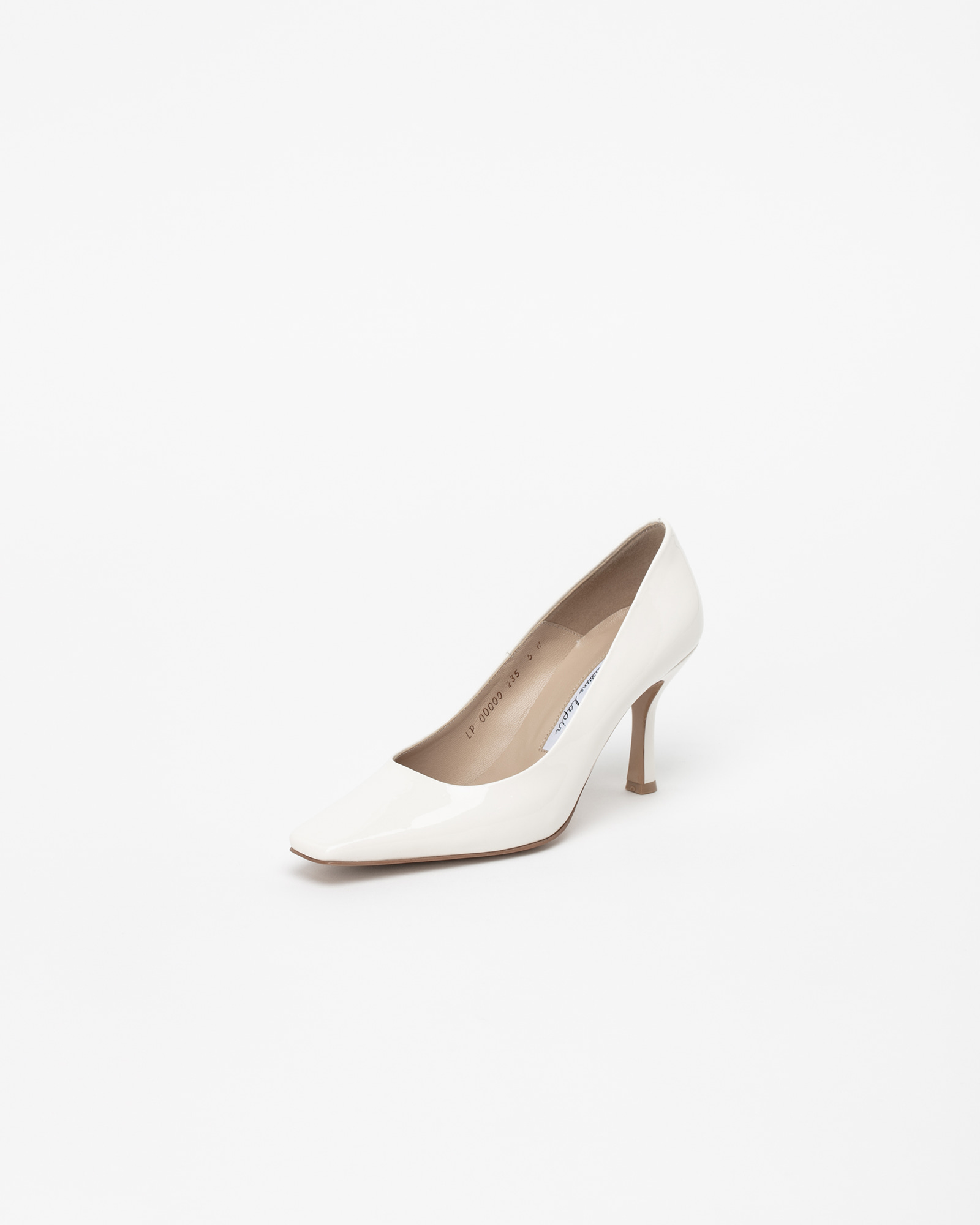 Seraff Pumps in Milky White Patent