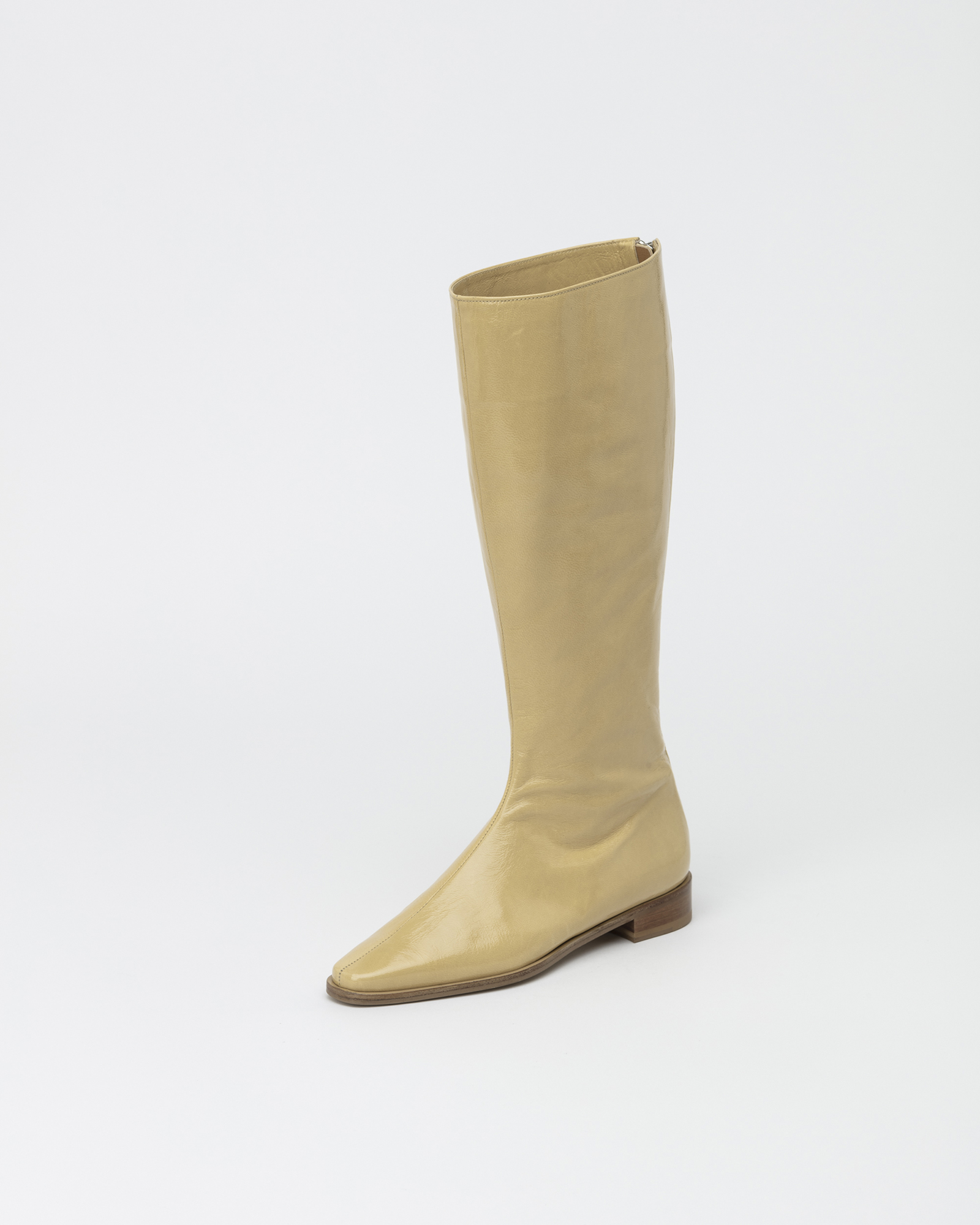 Resin Long Boots in Wrinkled Yellow Patent