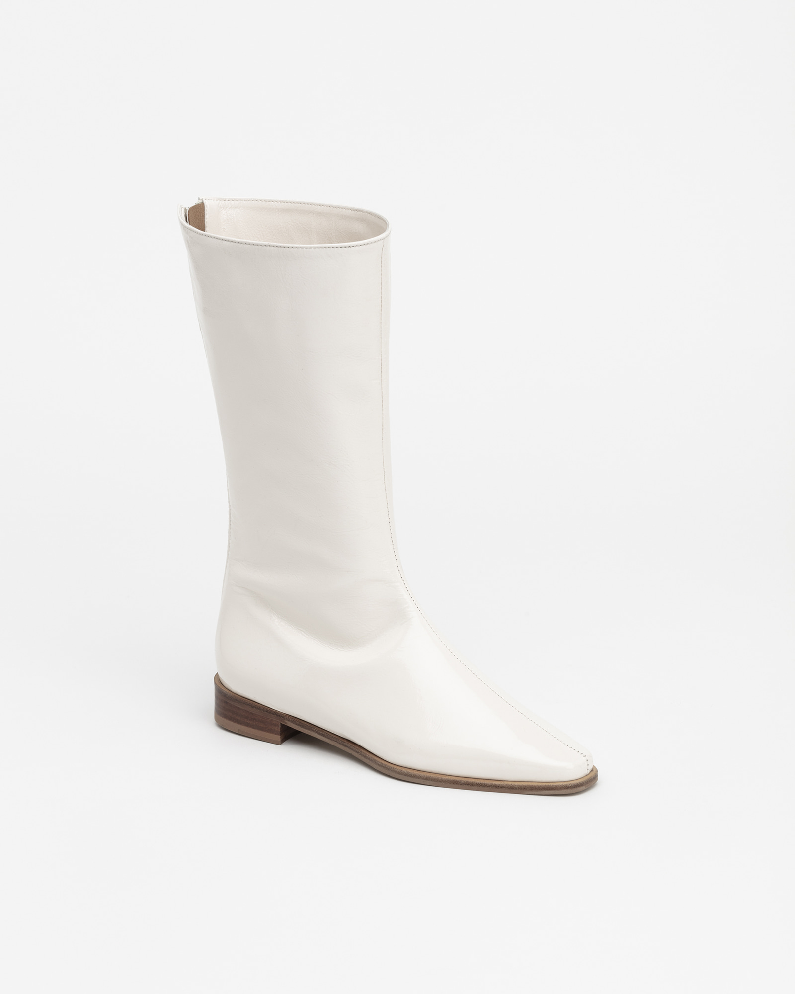 Resin Half Boots in Wrinkled White Patent